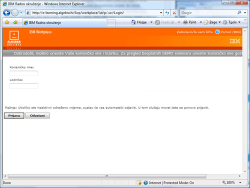 Slika 1 – LMS sustav IBM Workplace Collaborative Learning